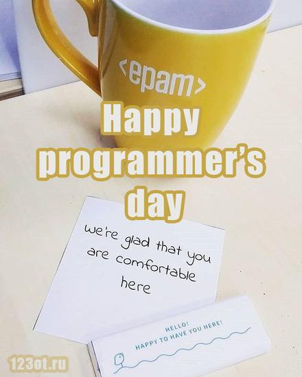 Открытка на день программиста с поздравлением! С днем прогера! Epam Systems! Happy programmers day!  скачать открытку бесплатно   123ot