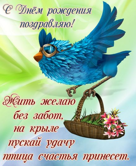 Яркая, красивая открытка с днём рождения куме с текстом, с пожеланием и стихом! Дорогоая кума, с днём рождения! Мультяшная синяя птица удачи. Скачать открытку на день рождения женщине бесплатно онлайн! скачать открытку бесплатно   123ot
