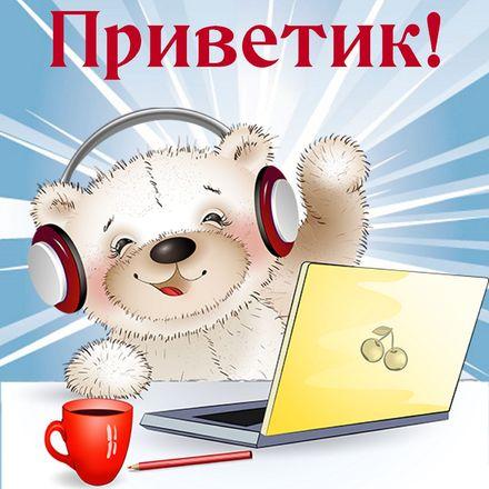 Яркая, красивая открытка привет, приветик с цветами, с текстом, с пожеланием и стихом! Плюшевый мишка в наушниках. Скачать открытку на тему привет, приветик с цветами бесплатно онлайн! скачать открытку бесплатно | 123ot