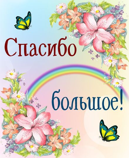Яркая, красивая открытка спасибо и благодарю с цветами, с текстом, с пожеланием и стихом! Спасибо на фоне радуги и цветов. Скачать открытку на тему спасибо и благодарю с цветами бесплатно онлайн! скачать открытку бесплатно   123ot
