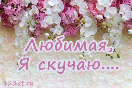 Картинка я скучаю с букетами цветов для любимой девушки или женщины! скачать открытку бесплатно | 123ot