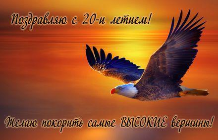 Яркая, красивая открытка с днём рождения на юбилей 20 лет с текстом, с пожеланием и стихом! С юбилеем, с днём рождения, с двадцатилетием! Открытка с орлом в небе на закате. Скачать открытку на юбилей бесплатно онлайн! скачать открытку бесплатно   123ot