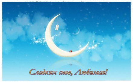 Чудесная открытка с пожеланием спокойной и доброй ночи любимой жене! скачать открытку бесплатно | 123ot
