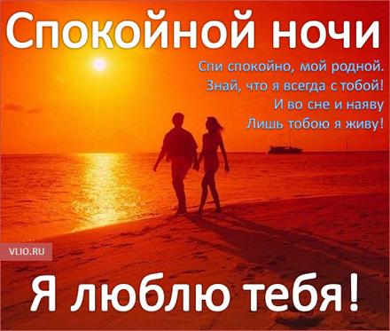 Романтическая открытка с пожеланием спокойной и доброй ночи для любимого! скачать открытку бесплатно | 123ot