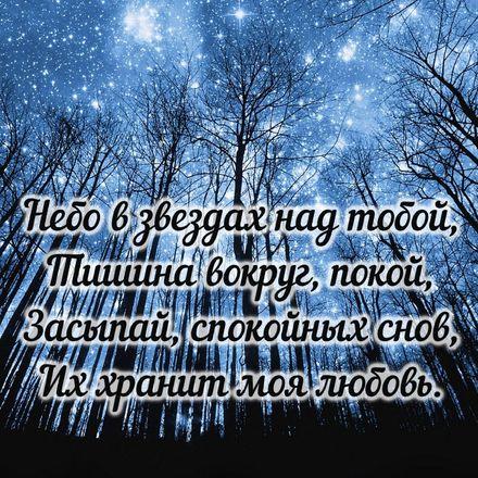 Яркая, красивая открытка спокойной ночи, сладких снов! Картинка с красивым звёздным небом. Скачать открытку спокойной ночи бесплатно онлайн! скачать открытку бесплатно | 123ot