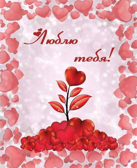 Яркая, красивая открытка для любимой, любимого! Люблю тебя в оформлении из сердечек. Скачать открытку на тему любовь и романтика бесплатно онлайн! скачать открытку бесплатно | 123ot