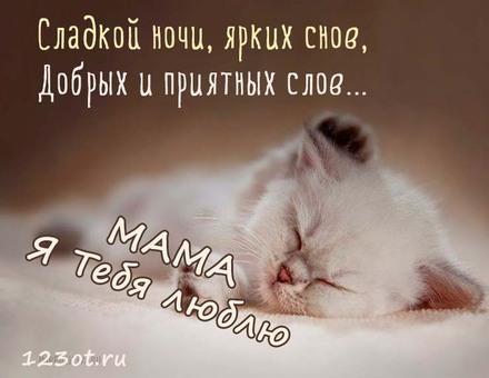 Милая картинка с пожеланием спокойной и волшебной ночи маме! скачать открытку бесплатно | 123ot