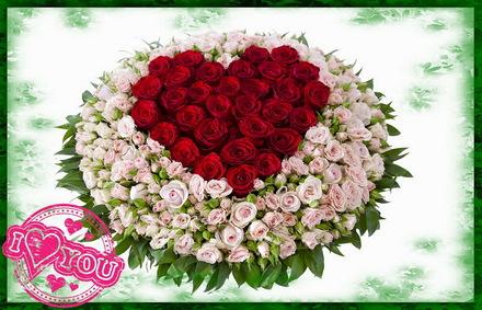 Яркая, красивая открытка для любимой, любимого! Открытка с сердечком из красных роз. Скачать открытку на тему любовь и романтика бесплатно онлайн! скачать открытку бесплатно   123ot