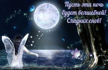 Яркая, красивая открытка спокойной ночи, сладких снов! Пусть эта ночь будет волшебной! Скачать открытку спокойной ночи бесплатно онлайн! скачать открытку бесплатно | 123ot