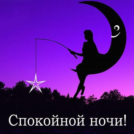 Яркая, красивая открытка спокойной ночи, сладких снов! Силуэт девушки со звездой на луне. Скачать открытку спокойной ночи бесплатно онлайн! скачать открытку бесплатно | 123ot