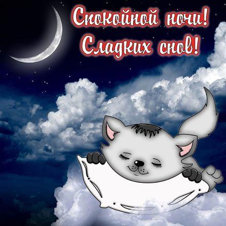 Яркая, красивая открытка спокойной ночи, сладких снов! Сладких снов и котенок спящий в облаках. Скачать открытку спокойной ночи бесплатно онлайн! скачать открытку бесплатно   123ot