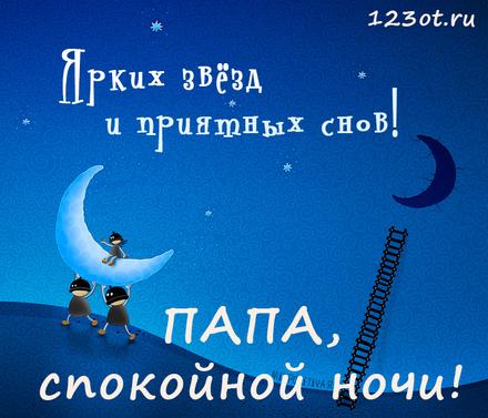 Великолепная открытка спокойной и доброй, нежной ночи папе! скачать открытку бесплатно | 123ot