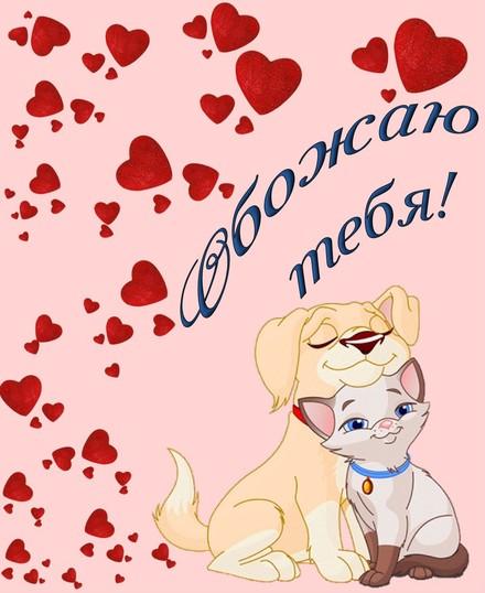 Яркая, красивая открытка для любимой, любимого! Влюбленные кошечка и собачка. Скачать открытку на тему любовь и романтика бесплатно онлайн! скачать открытку бесплатно | 123ot