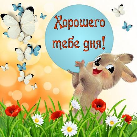 Яркая, красивая открытка хорошего дня, подруга, подружка! Зайчик среди цветов и бабочек. Скачать открытку хорошего дня бесплатно онлайн! скачать открытку бесплатно | 123ot