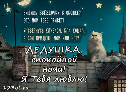 Милая открытка спокойной и доброй, нежной ночи для дедушки! скачать открытку бесплатно | 123ot