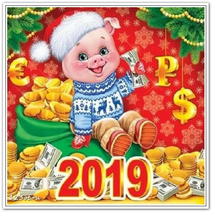 Живые картинки новогодние год свиньи 2019, поздравлением для