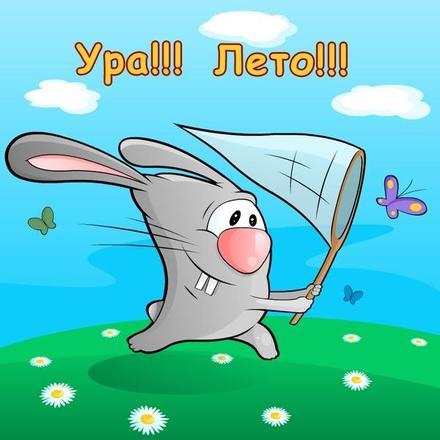 Открытка, картинка, 1 июня, первый день лета, первый летний день, поздравление, прикольный кролик. Открытки  Открытка, картинка, 1 июня, первый день лета, первый летний день, поздравление, прикольный кролик, сачок, бабочка скачать бесплатно онлайн скачать открытку бесплатно | 123ot