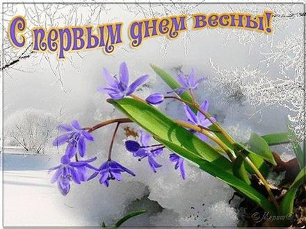 Открытка, картинка, первый день весны, подснежники. Открытки  Открытка, картинка, первый день весны, подснежники, открытка с первым днем весны, поздравление с первым днем весны, начало весны скачать бесплатно онлайн скачать открытку бесплатно   123ot