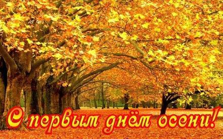 Открытка, картинка, Первый день осени, 1 сентября, начало осени, осень, фразы, пожелание, осень пришла, конец лета, чудесная пора, природа. Открытки  Открытка, картинка, Первый день осени, 1 сентября, начало осени, осень, фразы, пожелание, осень пришла, конец лета, чудесная пора, природа, желтая листва скачать бесплатно онлайн скачать открытку бесплатно | 123ot
