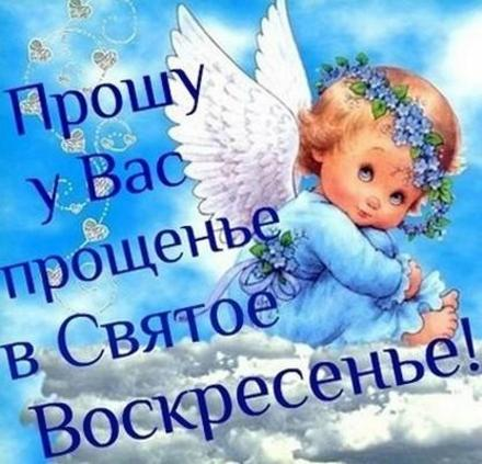 Открытка на Прощённое Воскресение ангелочек. Открытки  Открытка, картинка, Прощенное Воскресенье, русская традиция, стихи, пожелание, ангелочек, венок, цветы, облака скачать бесплатно онлайн скачать открытку бесплатно | 123ot