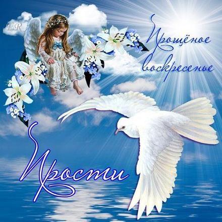 Открытка, картинка, Прощенное Воскресенье, русская традиция, небо, вода, облака, ангел. Открытки  Открытка, картинка, Прощенное Воскресенье, русская традиция, небо, вода, облака, ангел, голубь скачать бесплатно онлайн скачать открытку бесплатно | 123ot