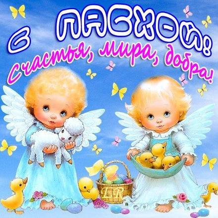 Открытка, картинка, Пасха, праздник, поздравление, Христос воскрес, воскресение, ангелочки. Открытки  Открытка, картинка, Пасха, праздник, поздравление, Христос воскрес, воскресение, ангелочки, цыплята, овечка скачать бесплатно онлайн скачать открытку бесплатно | 123ot