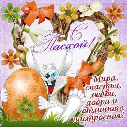 Открытка, картинка, Пасха, крашеные яйца, поздравление, светлый праздник Пасхи, Христос воскрес, зайчик. Открытки  Открытка, картинка, Пасха, крашеные яйца, поздравление, светлый праздник Пасхи, Христос воскрес, зайчик, сердечко, верба скачать бесплатно онлайн скачать открытку бесплатно | 123ot