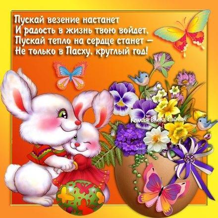 Открытка, картинка, Пасха, крашеные яйца, поздравление, цветы, зайчики, бабочки. Открытки  Открытка, картинка, Пасха, крашеные яйца, поздравление, цветы, анютины глазки, зайчики, бабочки, скачать бесплатно онлайн скачать открытку бесплатно | 123ot