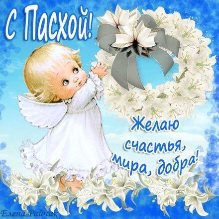 Открытка, картинка, Пасха, поздравление, цветы. Открытки  Открытка, картинка, Пасха, поздравление, цветы, ангелочек скачать бесплатно онлайн скачать открытку бесплатно | 123ot