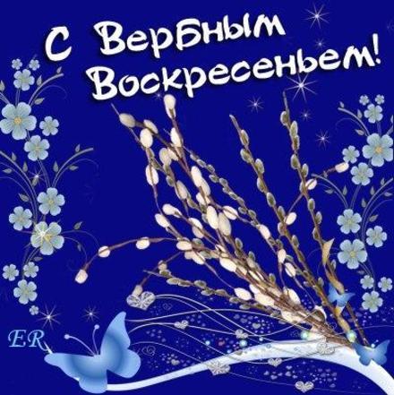 Открытка, картинка, Вербное Воскресенье, праздник, поздравление, верба. Открытки  Открытка, картинка, Вербное Воскресенье, праздник, поздравление, верба, цветы, бабочки скачать бесплатно онлайн скачать открытку бесплатно   123ot