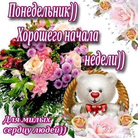 Открытка, картинка. Ох уж этот понедельник! Букетик цветов, мишка. Для милых сердцу людей. Открытка хорошего понедельника! Открытка про понедельник! скачать открытку бесплатно | 123ot