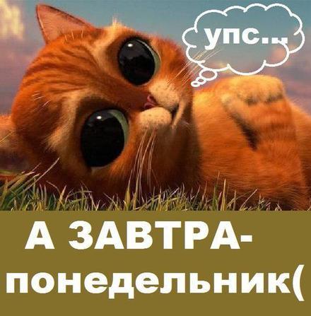 Открытка, картинка. Ох уж этот понедельник! Кота в сапогах заказывали? Открытка хорошего понедельника! Открытка про понедельник! скачать открытку бесплатно | 123ot