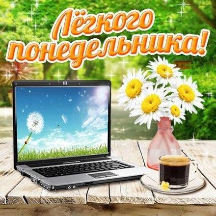 Открытка, картинка. Ох уж этот понедельник!Ромашки, кофе, ноутбук, природа! Открытка про понедельник! Хорошего понедельника! скачать открытку бесплатно | 123ot
