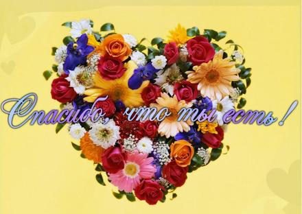 Открытка, картинка. Открытки с цветами. Красивое сердечко из цветов. Открытка спасибо! скачать открытку бесплатно | 123ot