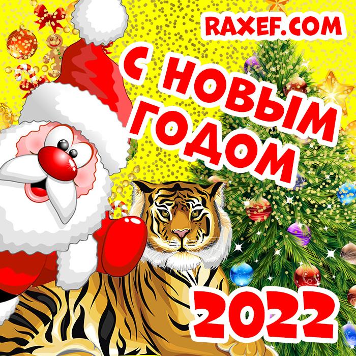 Поздравление с новым годом 2022! Открытка с тигром, дедушкой Морозом, ёлочкой и красивыми поздравительными надписями! С новым годом тигра! Поздравление для друзей, коллег, родных и близких, любимых людей! Яркая картинка 2022! скачать открытку бесплатно | 123ot