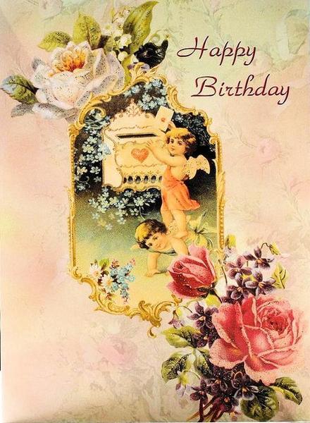 Ретро открытка на день рождения Девочка. Открытки  Ретро открытка на английском на день рождения Девочка скачать бесплатно онлайн скачать открытку бесплатно | 123ot