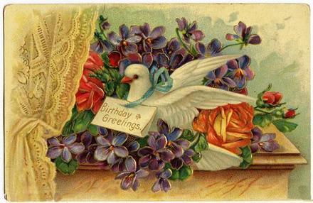 Ретро открытка на день рождения Голубь. Открытки  Ретро открытка на день рождения Голубь и письмо скачать бесплатно онлайн скачать открытку бесплатно | 123ot