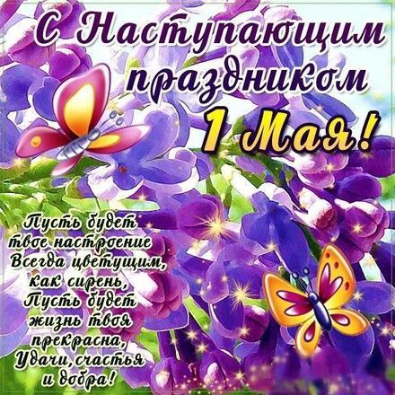 Открытка со стихом на 1 мая, поздравление к 1 мая, Первомай, праздник, День весны и труда! Фиолетовые цветы, бабочки. скачать открытку бесплатно | 123ot