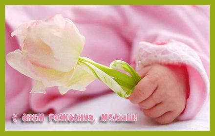 Открытка на день рождения детская Малыш и цветочек. Открытки  Нежная открытка на день рождения детская Малыш и цветочек скачать бесплатно онлайн скачать открытку бесплатно | 123ot
