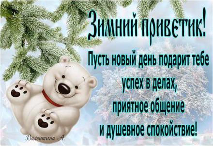 Открытка, картинка, привет, зимний привет, приветик, зима, снег, мишка. Открытки  Открытка, картинка, привет, зимний привет, приветик, зима, снег, мишка, елка скачать бесплатно онлайн скачать открытку бесплатно | 123ot