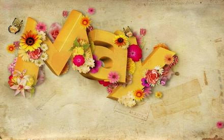 Открытка на 1 мая на английском, картинка 1 мая, Первомай, праздник, День весны и труда, поздравление на английском! Английские буквы в цветах! скачать открытку бесплатно | 123ot