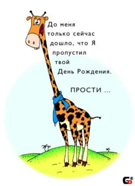 Прикольная открытка поздравление с прошедшим Днем рождения Жираф. Открытки  Прикольная открытка поздравление с прошедшим Днем рождения Жираф, извинения скачать бесплатно онлайн скачать открытку бесплатно | 123ot