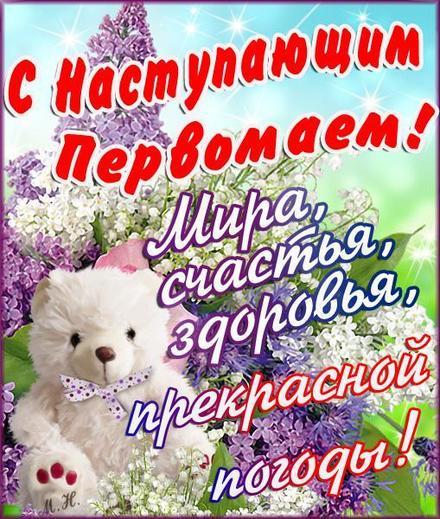Открытка на майские праздники, цветы, сирень, поздравление своими словами, весна, мишка. Открытки 1 мая! Картинка, 1 мая, открытка на 1 мая, поздравление с первым маем! скачать открытку бесплатно | 123ot