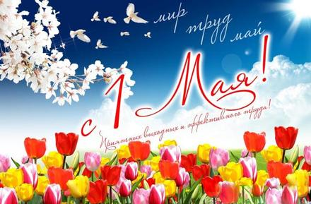 Открытка на 1 мая, картинка с полем тюльпанов, 1 мая, Первомай, праздник, природа, небо, цветы, День весны и труда, поздравлени! скачать открытку бесплатно | 123ot