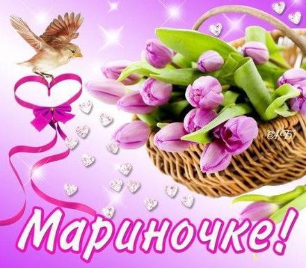 Открытка, картинка, с днем рождения, день рождения, поздравление, Марина, Мариночка, тюльпаны. Открытки  Открытка, картинка, с днем рождения, день рождения, поздравление, Марина, Мариночка, тюльпаны, букет скачать бесплатно онлайн скачать открытку бесплатно   123ot