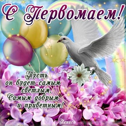 Открытка 1 мая, картинка на 1 мая, первомай, майские праздники, цветы, весна, голубь. скачать открытку бесплатно | 123ot