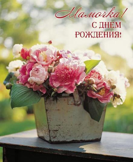 открытка, с днем рождения маме, поздравление, цветы. Открытки  Красивая открытка, с днем рождения маме, поздравление, цветы скачать бесплатно онлайн скачать открытку бесплатно | 123ot