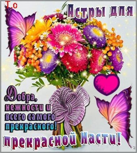 Открытка, картинка, с днем рождения, день рождения, поздравление, Настя, Настюша, цветы. Открытки  Открытка, картинка, с днем рождения, день рождения, поздравление, Настя, Настюша, цветы, астры скачать бесплатно онлайн скачать открытку бесплатно | 123ot