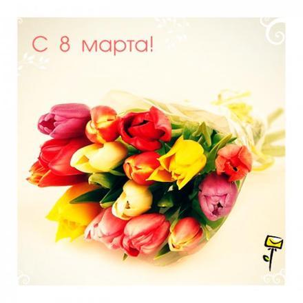Открытка на 8 Марта Букет тюльпанов. Открытки  Красивая открытка на 8 Марта Букет тюльпанов скачать бесплатно онлайн скачать открытку бесплатно | 123ot