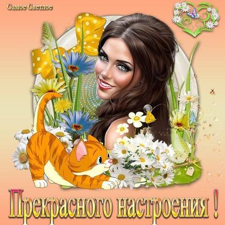 Открытка хорошего, прекрасного настроения, улыбайся, весна, лето, девушка, котик, пожелание отличного настроения! скачать открытку бесплатно | 123ot